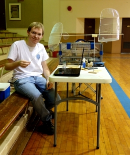 Evan Guyett at work at his table set up at Osawatomie Auditorium 600