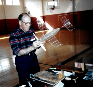 Bob Kochersperger tweaking his Manhattan indoor model aircraft