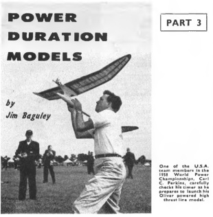 Pic of old HAFFA member, Carl Perkins, flying his power model at the 1958 World Champs in England. Found it in a 1960 Model Aircraft (UK) article. I read that he did not place, because his model inadvertently left his grasp with the Oliver engine running, and almost hit the UK Wakefield team.