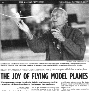 Emil Schutzel featured in Oct. 3rd 2007 Kansas City Star article on indoor models.