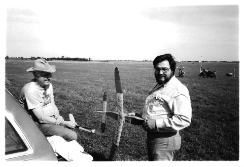 Roger S. and Mike B. enjoy a quick chat between flights. (circa 1995).