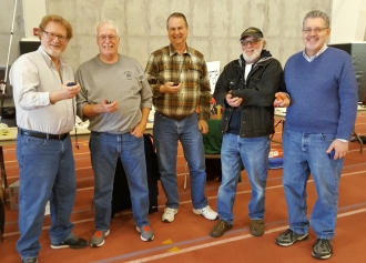 Timers at the Ready! HAFFA Members left to right — Jeff Renz, Charlie Taylor, Dana Field, Tom, and Jeff Nisley.