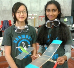 Yuwen Li and Vedha Penmetcha proudly display their Vangard P-18.