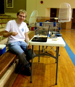 Evan Guyett at work at his table set up at Osawatomie Auditorium 600