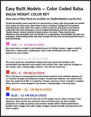 easy built models — color coded balsa — balsa weight color key thumb