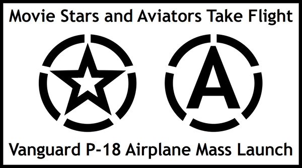 movie stars and aviators take flight vanguard p-18 logo with border