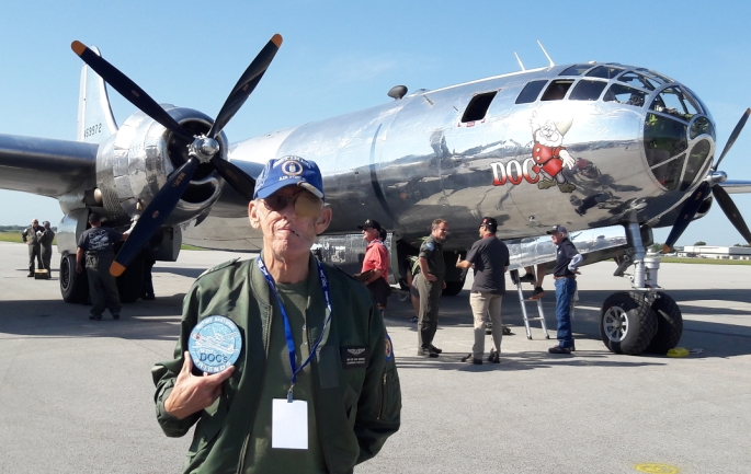 Roie Black in front of B-29