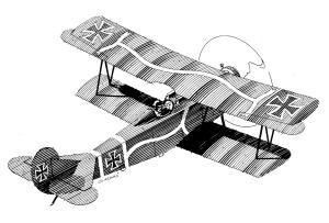 ww1 biplane line drwg