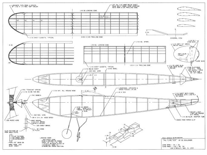 Plans for the Altimeter. Our wing is different that what is shown in  the plan. We are uncertain what the wing is, but we are pretty sure that Carl Perkins was the maker.