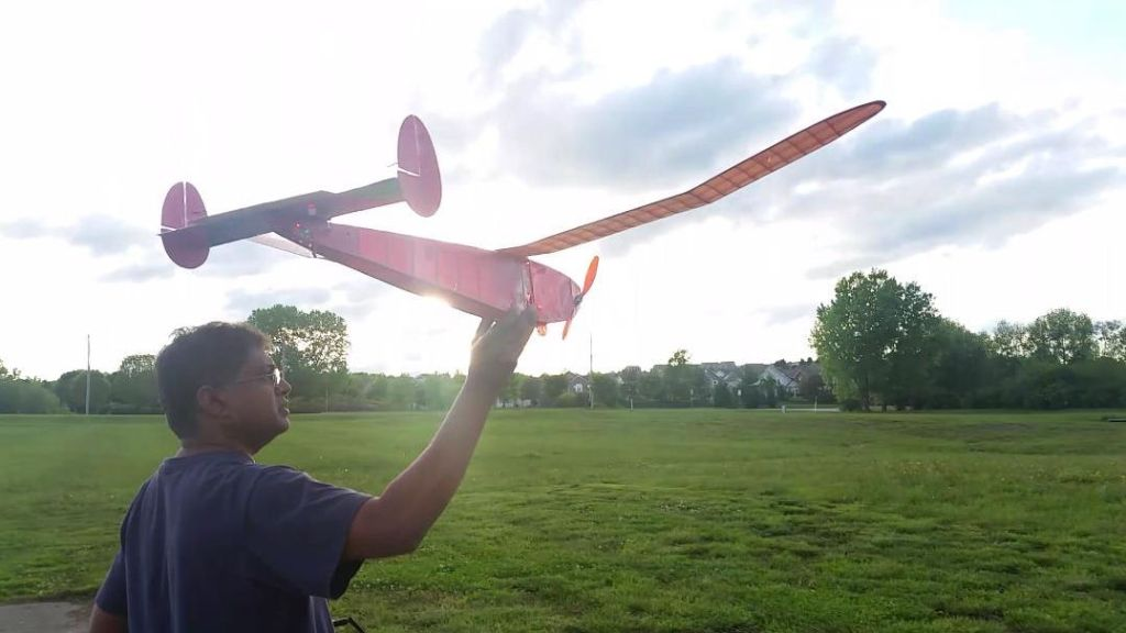 Having completed the preliminary work needed—here we see Suman Sarapalli as he prepares to fly the Altimeter- Hybrid for the first time on electric RC — May 2016. A successful and quite joyful DAY!!!!